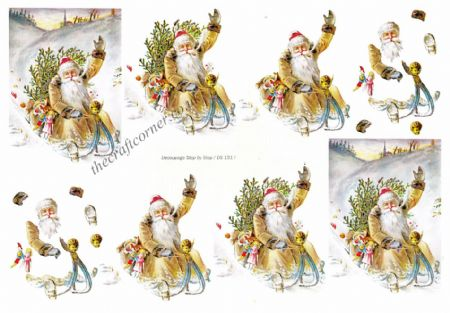 Edwardian Santa On His Sleigh 3d Decoupage Sheet